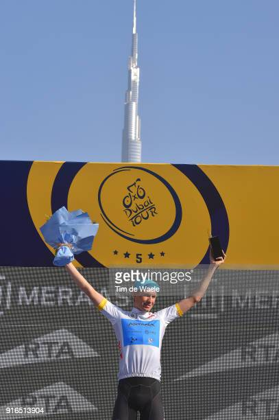 5th Tour Dubai 2018 / Stage 5 Podium / Magnus Cort Nielsen of Denmark White Best Young Rider Jersey Celebration / Burj Khalifa Building / Trophy /...