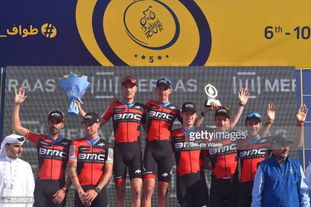 5th Tour Dubai 2018 / Stage 5 Podium / Nicolas Roche of Ireland / Tom Bohli of Switzerland / JeanPierre Drucker of Luxembourg / Dylan Teuns of...