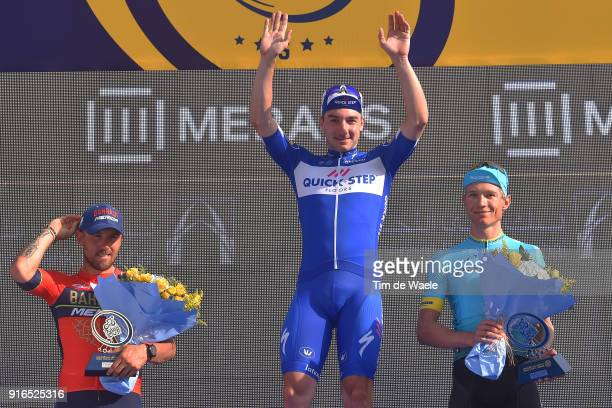 5th Tour Dubai 2018 / Stage 5 Podium / Sonny Colbrelli of Italy / Elia Viviani of Italy Blue Leader Jersey / Magnus Cort Nielsen of Denmark / Trophy...