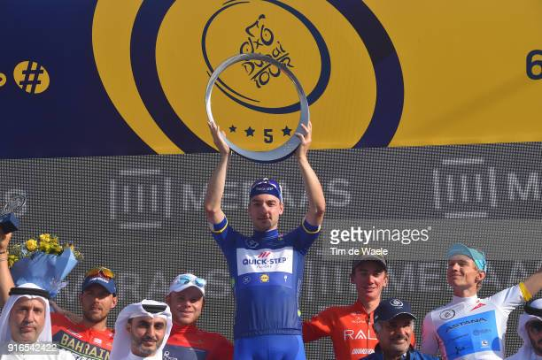 5th Tour Dubai 2018 / Stage 5 Podium / Sonny Colbrelli of Italy / Quentin Valognes of France Black Intermediate Sprint Jersey / Elia Viviani of Italy...