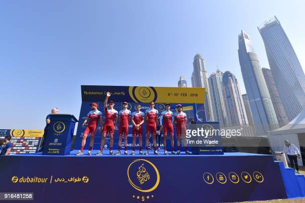 5th Tour Dubai 2018 / Stage 5 Start / Podium / Marcel Kittel of Germany / Marco Mathis of Germany / Alex Dowsett of Great Britain / Marco Haller of...