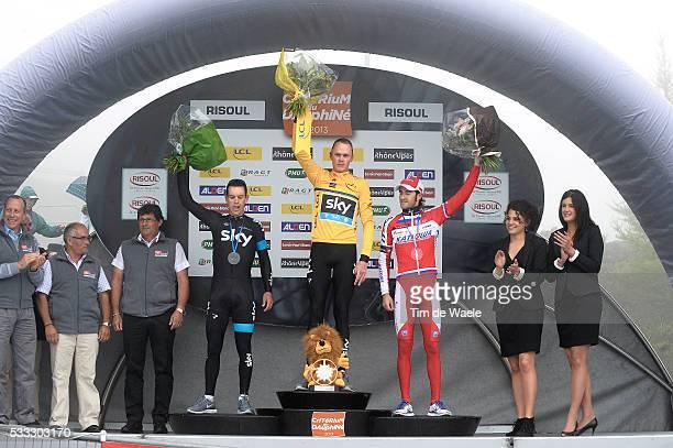 65th Criterium du Dauphine 2013 / Stage 8 Podium/ Richie PORTE / Christopher FROOME / Leader Yellow Jersey/ Daniel MORENO / Celebration Joie Vreugde...