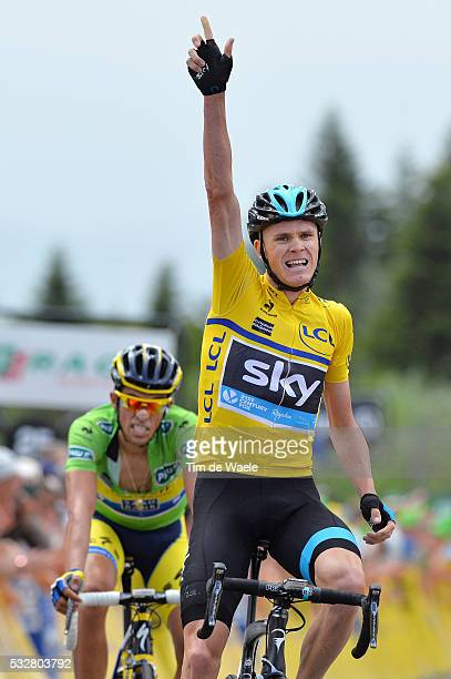 66th Criterium du Dauphine 2014 / Stage 2 Arrival / FROOME Christopher Yellow Jersey Celebration Joie Vreugde / CONTADOR Alberto Green Jersey /...