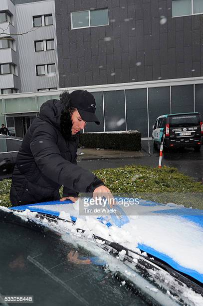 66th Kuurne Brussel Kuurne 2013 Mark CAVENDISH Jaguar XKRS Car Voiture Auto / Neige Sneeuw / Race was cancelled due to snow bad weather conditions /...