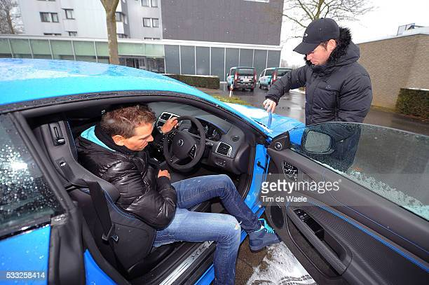 66th Kuurne Brussel Kuurne 2013 Mark CAVENDISH / Zdenek STYBAR / Jaguar XKRS Car Voiture Auto / Neige Sneeuw / Race was cancelled due to snow bad...