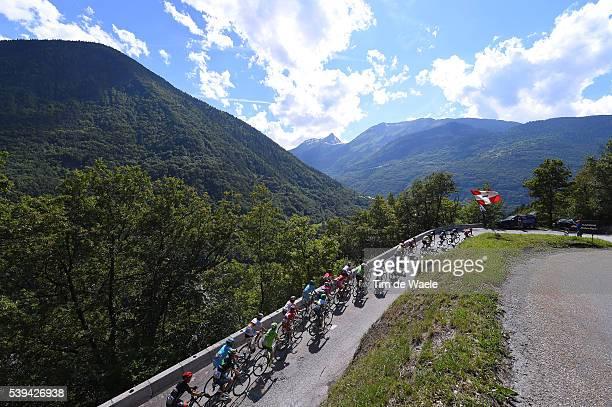 68th Criterium du Dauphine 2016 / Stage 6 Illustration / Peloton / Montee des Frasses 1028m Mountains / Landscape / La Rochette Meribel 1454m /