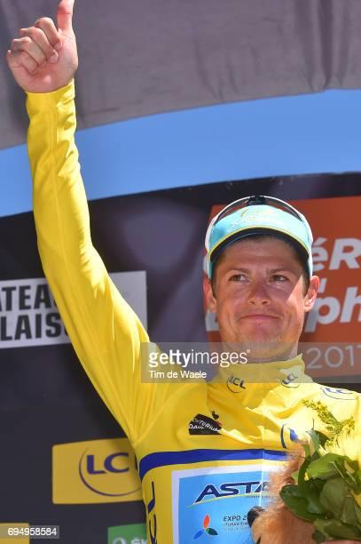 69th Criterium du Dauphine 2017 / Stage 8 Podium / Jakob FUGLSANG Yellow Leader Jersey / Celebration / Albertville Plateau de Solaison 1508m /