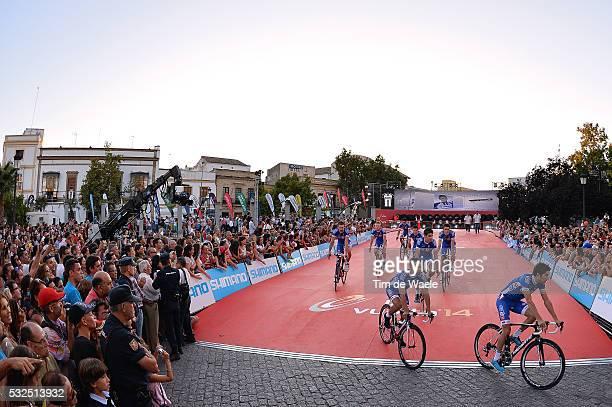 69th Tour of Spain 2014 / Team Presentation Team FDJ / Illustration Illustratie / BOUHANNI Nacer / PINOT Thibaut / Public Publiek Spectators / Fans...