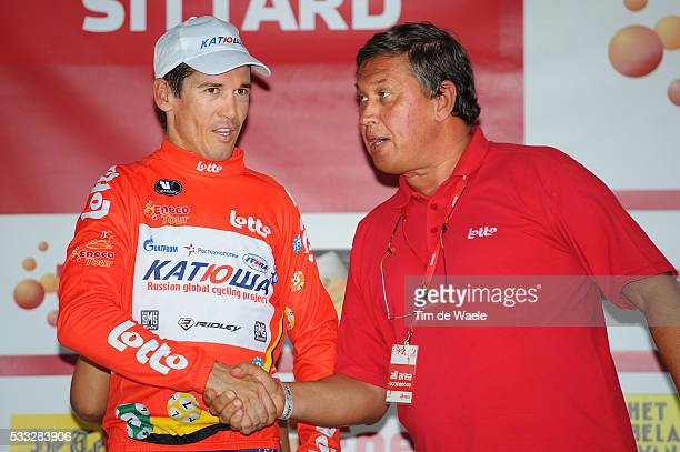 6th Eneco Tour / Stage 5 Podium / Robbie McEWEN Red Jersey / Paul DEBELDER National Belgian Loterie Lotto / Celebration Joie Vreugde / Roermond...