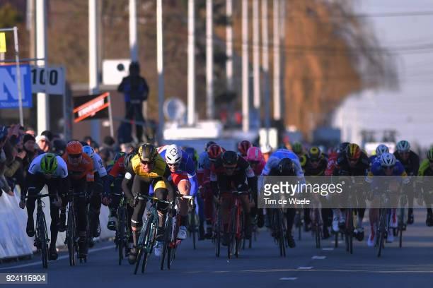 70th Kuurne Brussels Kuurne 2018 Arrival Sprint / Dylan Groenewegen of The Netherlands / Arnaud Demare of France / Julien Vermote of Belgium /...