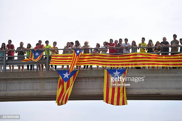 70th Tour of Spain 2015 / Stage 12 Illustration Illustratie/ Peloton Peleton/ Landscape Paysage/ Bridge Pont/ Catalonia Flag/ Public Spectators/ Fans...