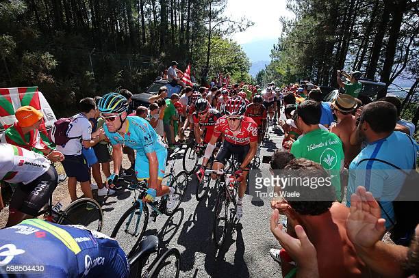 71st Tour of Spain 2016 / Stage 12 Dmitriy GRUZDEV / Bart DE CLERCQ / Alto El Vivero 410m / Fans Public / Peloton / Los Corrales de Buelna - Bilbao /...