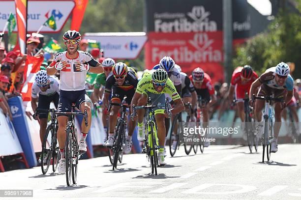 71st Tour of Spain 2016 / Stage 7 Arrival / Jonas VAN GENECHTEN Celebration / Daniele BENNATI / Alejandro VALVERDE White Combination Jersey /...