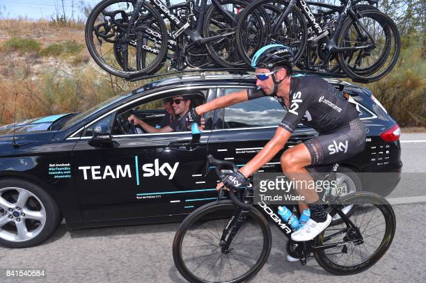 72nd Tour of Spain 2017 / Stage 13 David LOPEZ / Nicolas PORTAL Sportsdirector Team Sky / SIS bottle / Feed Zone / Car / Coin Tomares 105m / La...