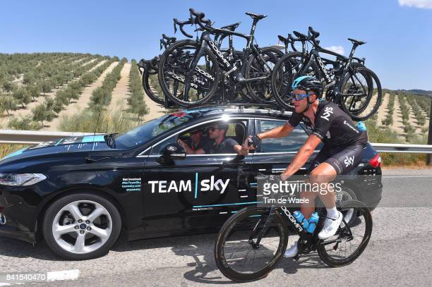 72nd Tour of Spain 2017 / Stage 13 Ian STANNARD / Nicolas PORTAL Sportsdirector Team Sky / SIS bottle / Feed Zone / Car / Coin Tomares 105m / La...