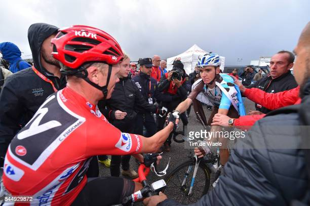 72nd Tour of Spain 2017 / Stage 20 Arrival / Christopher FROOME Red Leader Jersey / Romain BARDET / Celebration / Media / Press / Corvera de Asturias...