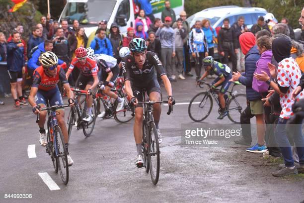 72nd Tour of Spain 2017 / Stage 20 Vincenzo NIBALI / Wout POELS / Christopher FROOME Red Leader Jersey / Corvera de Asturias Alto de L'Angliru 1560m...