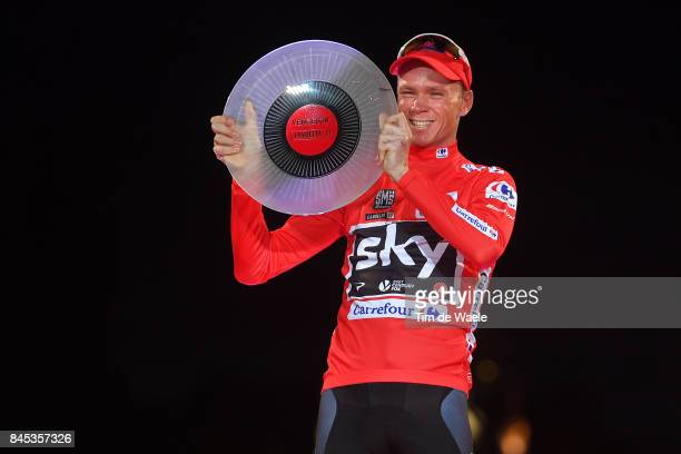 72nd Tour of Spain 2017 / Stage 21 Podium / Christopher FROOME Red Leader Jersey Celebration / Trophy / Arroyomolinos Madrid / La Vuelta /