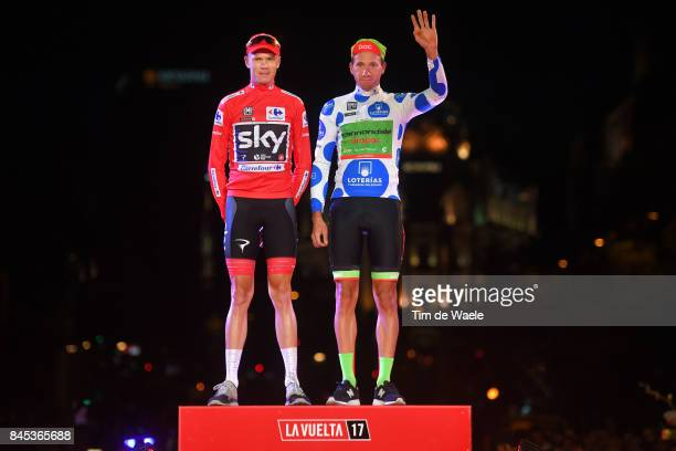 72nd Tour of Spain 2017 / Stage 21 Podium / Christopher FROOME Red Leader Jersey / Davide VILLELLA Polka Dot Mountain Jersey Celebration /...