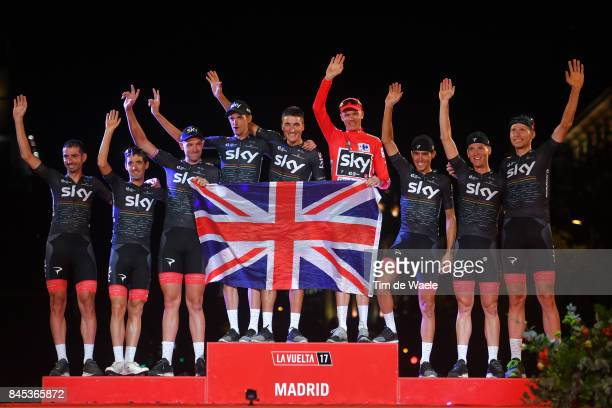 72nd Tour of Spain 2017 / Stage 21 Podium / Christopher FROOME Red Leader Jersey / Christian KNEES / Salvatore PUCCIO / David LOPEZ / Gianni MOSCON /...