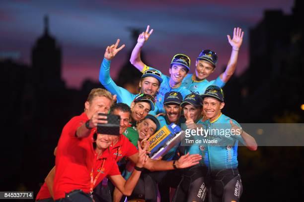 72nd Tour of Spain 2017 / Stage 21 Podium / Fabio ARU / Pello BILBAO / Sergei CHERNETCKII / Laurens DE VREESE / Jesper HANSEN / Miguel Angel LOPEZ /...