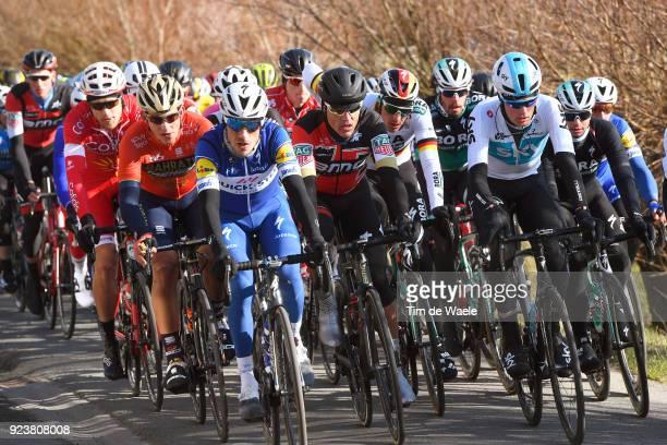 73rd Omloop Het Nieuwsblad 2018 / Men Dries Devenyns of Belgium / Greg Van Avermaet of Belgium / Marcus Burghardt of Germany / Jonathan Dibben of...