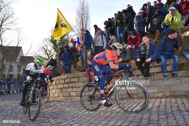 73rd Omloop Het Nieuwsblad 2018 / Men Kristijan Koren of Slovenia / Julien Vermote of Belgium / Muur of Geraardsbergen Kapelmuur / Gent Ninove /...