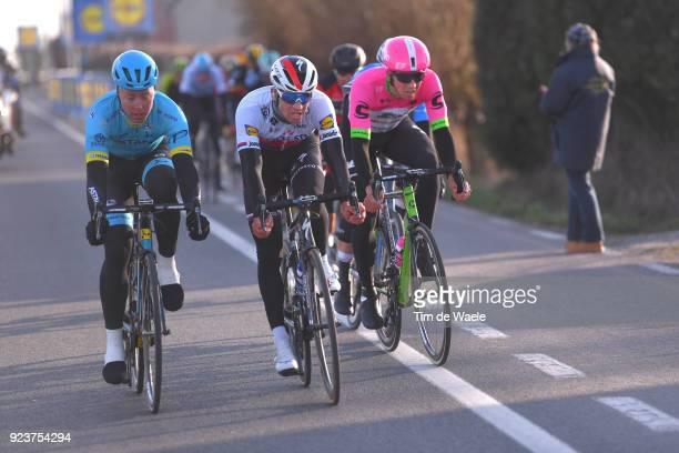 73rd Omloop Het Nieuwsblad 2018 / Men Michael Valgren of Denmark / Zdenek Stybar of Czech Republic / Sep Vanmarcke of Belgium / Gent - Ninove /...