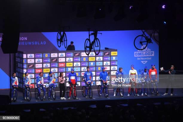 73rd Omloop Het Nieuwsblad 2018 / Men Start / Podium / Arnaud Demare of France / Antoine Duchesne of Canada / Mickael Delage of France / Daniel...