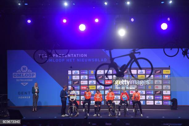73rd Omloop Het Nieuwsblad 2018 / Men Start / Podium / Chantal Blaak of The Netherlands / Jip van den Bos of The Netherlands / KarolAnn Canuel of...