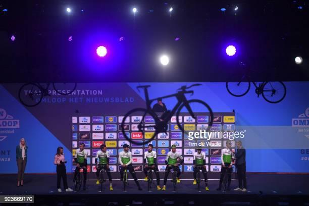 73rd Omloop Het Nieuwsblad 2018 / Men Start / Podium / Edvald Boasson Hagen of Norway / Nick Dougall of South Africa / Bernhard Eisel of Austria /...