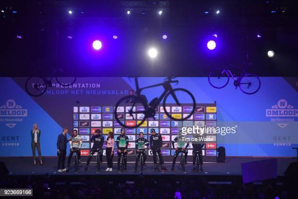 73rd Omloop Het Nieuwsblad 2018 / Men Start / Podium / Marcus Burghardt of Germany / Daniel Oss of Italy / Christoph Pfingsten of Germany / Lukas...