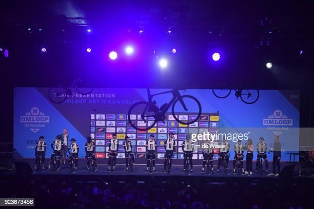 73rd Omloop Het Nieuwsblad 2018 / Men Start / Podium / Soren Kragh Andersen of Denmark / Roy Curvers of The Netherlands / Laurens Ten Dam of The...
