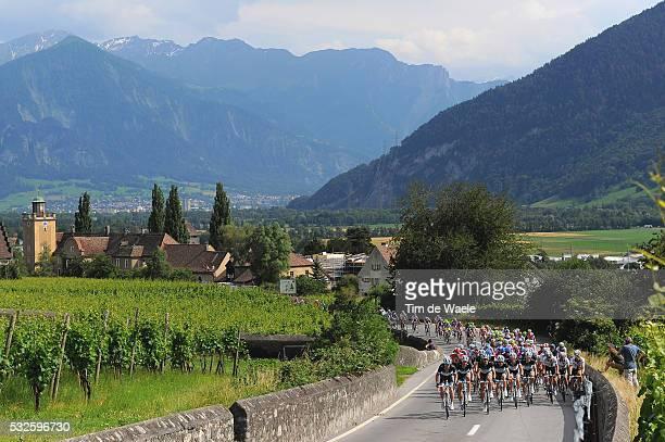 75th Tour de Suisse / Stage 6 Peleton Peloton / Vignobles Vignyards Wijngaard / LUZISTEIG 713m / Team Leopard TREK / Landscape Paysage Landschap /...