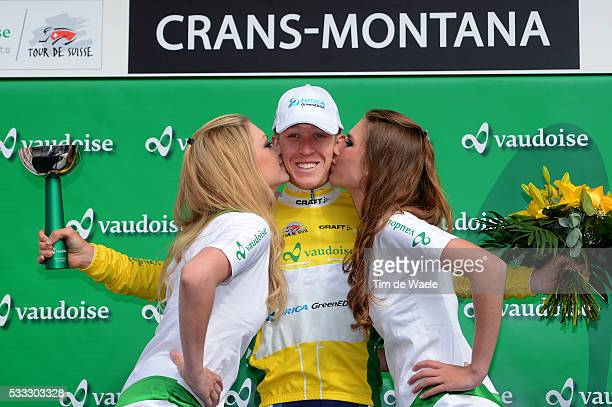77th Tour of Swiss 2013 / Stage 2 Podium / MEYER Cameron Yellow Jersey Celebration Joie Vreugde / Quinto Crans Montana 1672 / Tour de Suisse Ronde...
