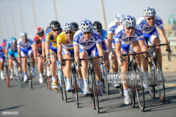 7Th Tour Of Qatar Stage 2Steven De Jongh Matteo Tosatto Yellow Jersey Wilfried Cretskens Steven De Jongh Tom Boonen Maarten Wynants Team Quick Step...