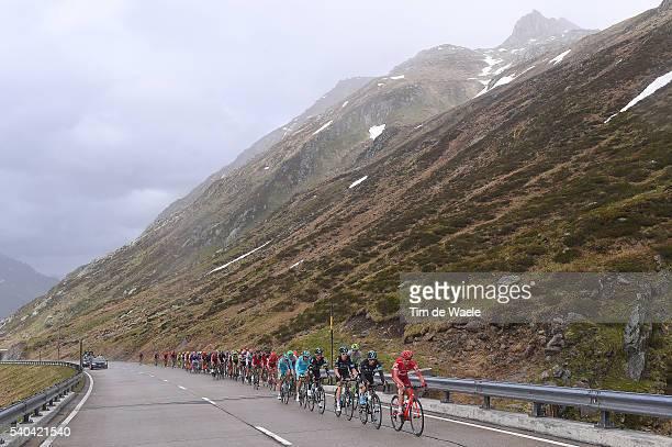 80th Tour of Swiss 2016 / Stage 5 Sergey LAGUTIN / Leopold KONIG / Geraint THOMAS / Illustration / Peloton / Gotthardpass 2102m Mountains / Landscape...