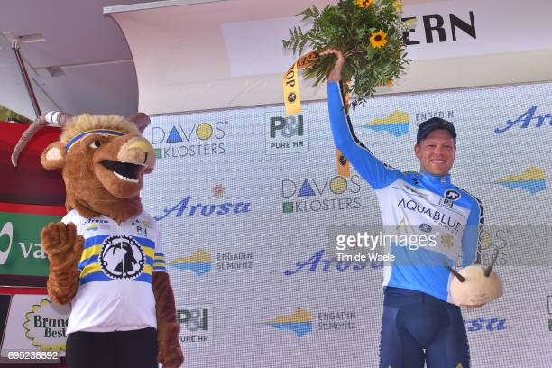 81st Tour of Switzerland 2017 / Stage 3 Podium / Lasse NORMAN HANSEN Blue Mountain Jersey Celebration / Menziken Bern 560m / TDS/