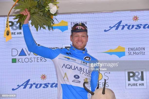81st Tour of Switzerland 2017 / Stage 5 Podium / Lasse NORMAN HANSEN Blue Mountain Jersey Celebration / Bex Cevio 424m / TDS/