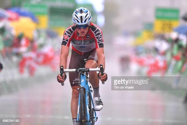 81st Tour of Switzerland 2017 / Stage 6 Arrival / Mathias FRANK Red Best Swiss Rider Jersey/ Rain / Locarno La Punt Chamuesch 1695m / TDS/