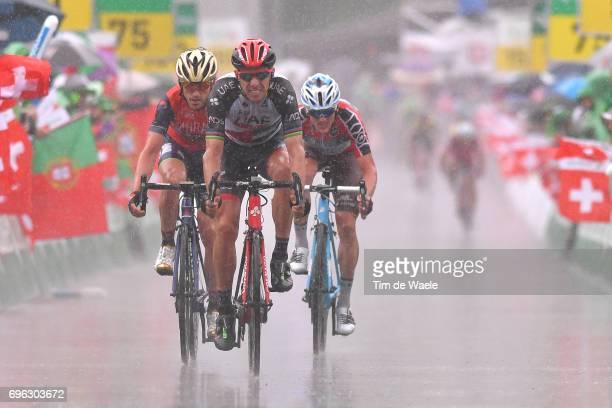 81st Tour of Switzerland 2017 / Stage 6 Arrival / Rui FARIA DA COSTA / Ion IZAGUIRRE INSAUSTI / Mathias FRANK Red Best Swiss Rider Jersey / Locarno...
