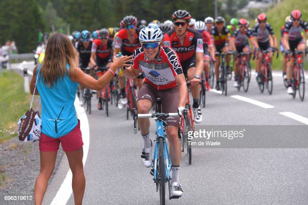 81st Tour of Switzerland 2017 / Stage 6 Mathias FRANK Red Best Swiss Rider Jersey / Feed Zone / Locarno La Punt Chamuesch 1695m / TDS/