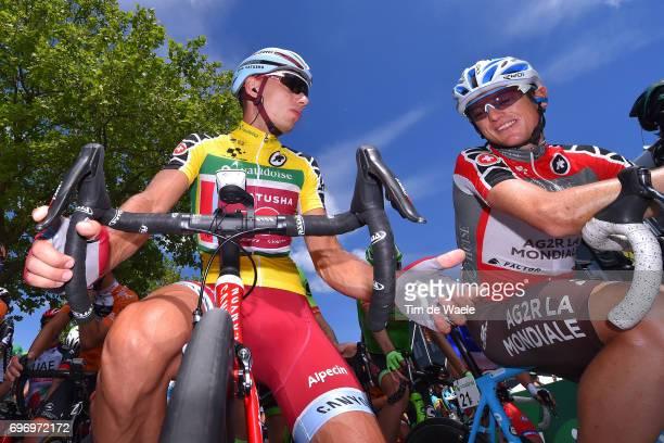 81st Tour of Switzerland 2017 / Stage 8 Simon SPILAK Yellow Leader Jersey / Mathias FRANK Red Best Swiss Rider Jersey / Lasse Norman HANSEN Blue...
