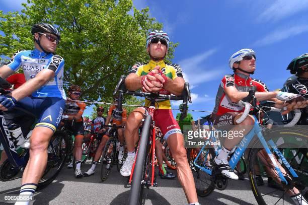 81st Tour of Switzerland 2017 / Stage 8 Start / Lasse Norman HANSEN Blue Mountain Jersey/ Simon SPILAK Yellow Leader Jersey / Mathias FRANK Red Best...