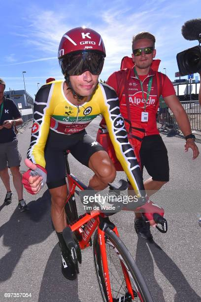 81st Tour of Switzerland 2017 / Stage 9 Arrival / Simon SPILAK Yellow Leader Jersey/ Celebration / Schaffhausen Schaffhausen / ITT/ Individual Time...
