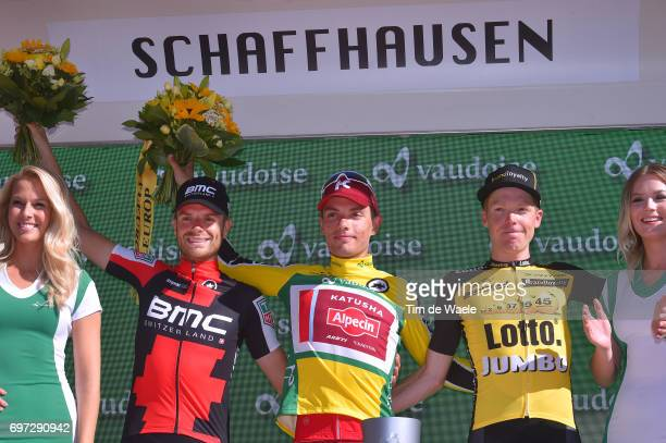 81st Tour of Switzerland 2017 / Stage 9 Podium / Damiano CARUSO / Simon SPILAK Yellow Leader Jersey/ Steven KRUIJSWIJK / Celebration / Schaffhausen...