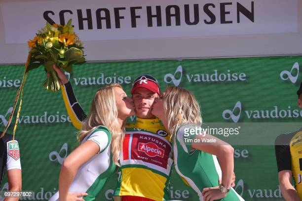 81st Tour of Switzerland 2017 / Stage 9 Podium / Simon SPILAK Yellow Leader Jersey/ Celebration / Schaffhausen Schaffhausen / ITT/ Individual Time...