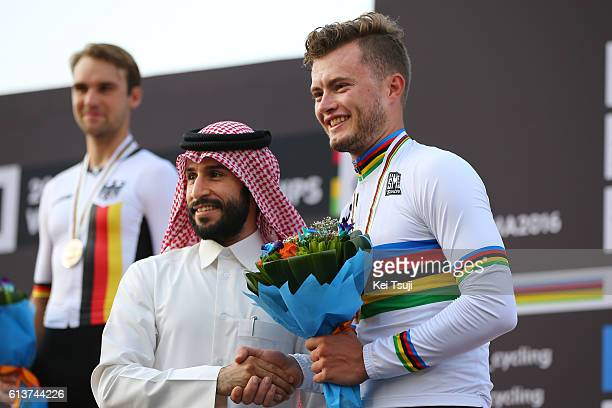 89th Road World Championships 2016 / ITT Men U23 Podium / Maximilian SCHACHMANN Silver Medal/ Marco MATHIS Gold Medal/ Celebration / The Pearl Qatar...