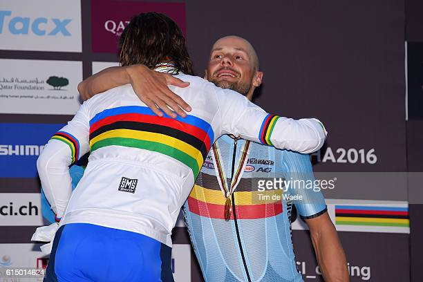 89th Road World Championships 2016 / Men Elite Podium / Peter SAGAN Gold Medal / Tom BOONEN Bronze Medal / Celebration / Aspire Zone The Pearl Qatar...