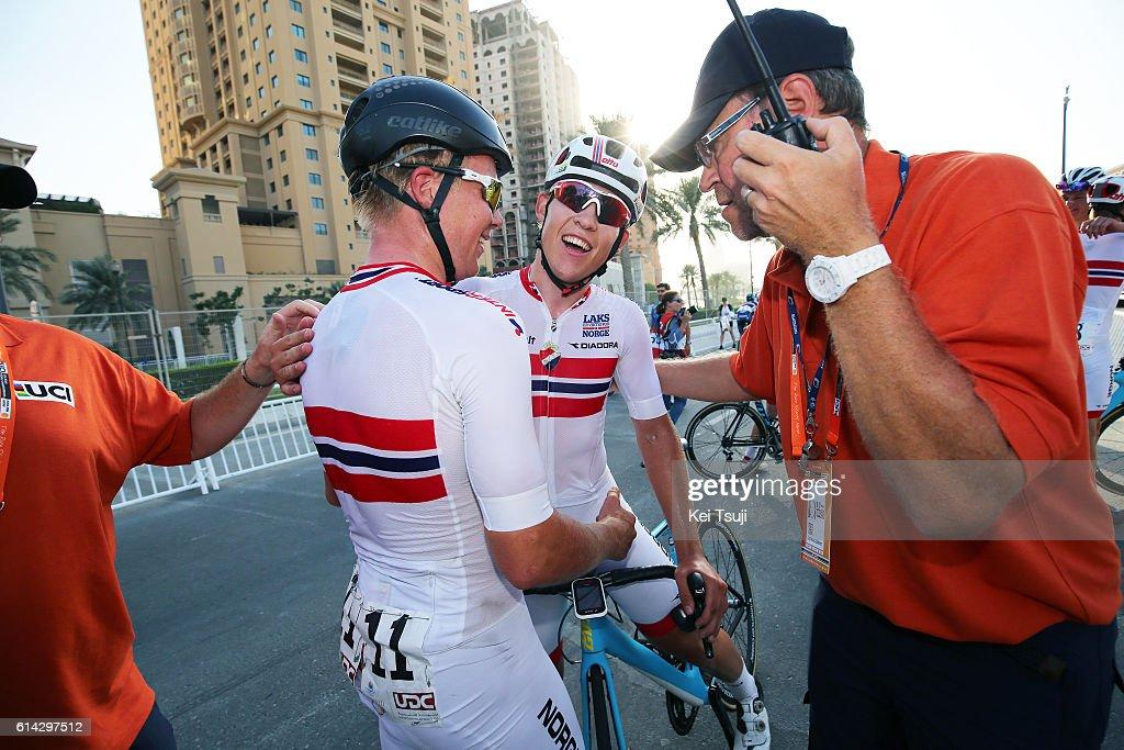 89th Road World Championships 2016 / Men U23 Road Race Arrival / Kristoffer HALVORSEN (NOR)/ Fridtjof ROEINAAS (NOR)/ Celebration / The Pearl Qatar - The Pearl Qatar (166km)/ Men U23 / WC /
